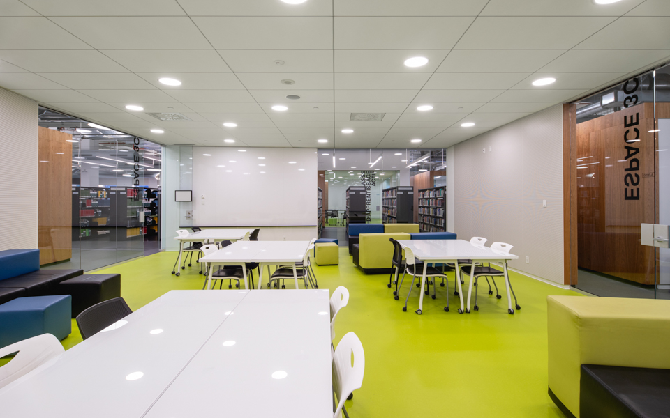 ETS library tables, café booth tables, chalkboards, featuring Formica® Laminate, Formica Infiniti® and Formica® Writable Surfaces