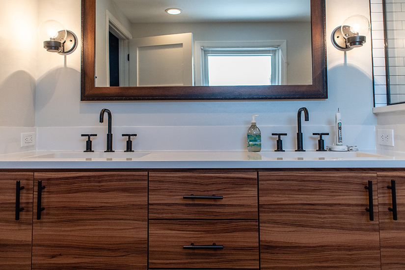 Oiled Olivewood MKE Residential Bathroom