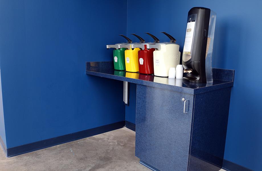 Robert Morris University Back Condiment Station with Formica® Brand High Pressure Laminate Reclaimed Denim Fiber