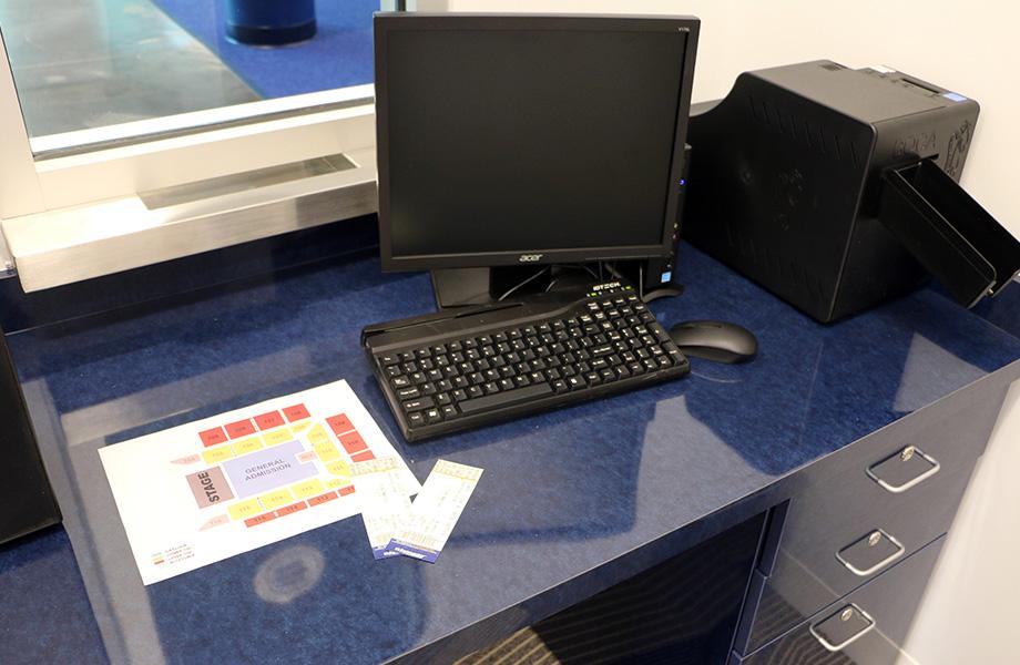 Robert Morris University Back ticketing booth with Formica® Brand High Pressure Laminate Reclaimed Denim Fiber