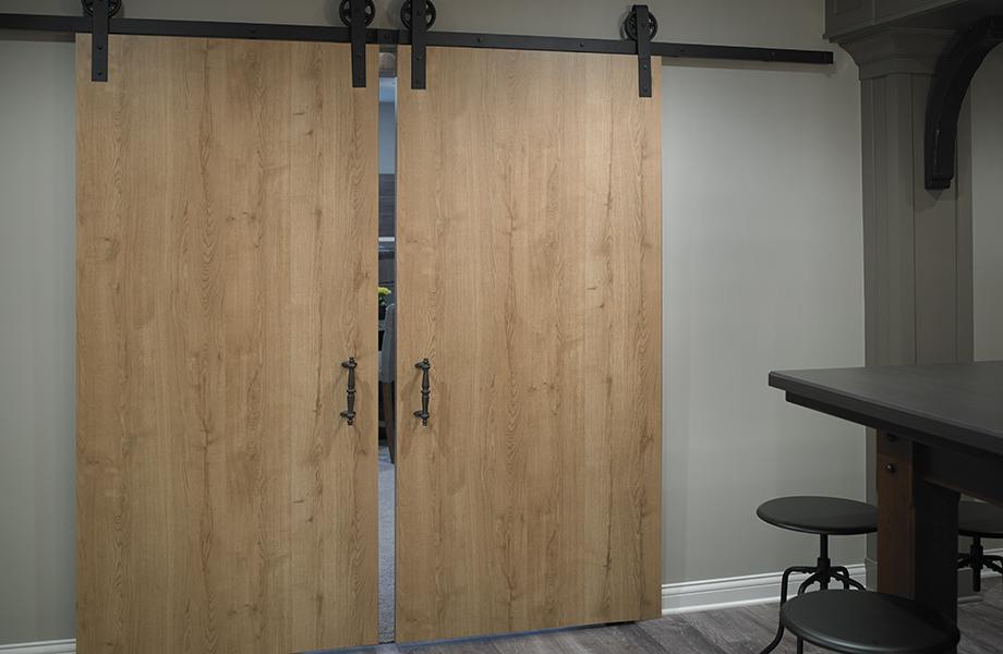 Woodgrain barn doors