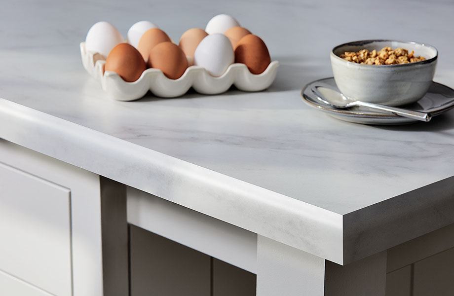 5018 11 Calacatta Cava white marble laminate countertop with oats and eggs