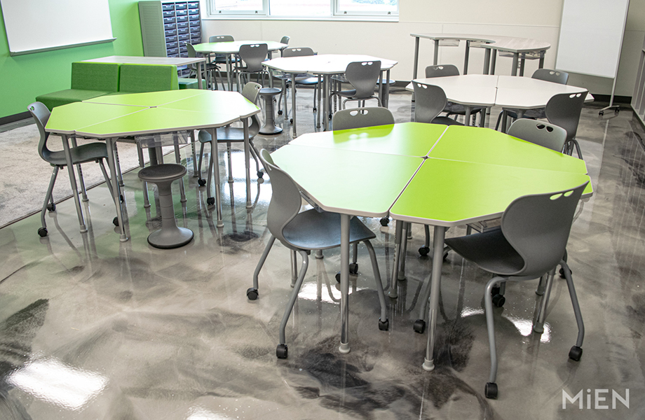 6901 Vibrant Green Formica Laminate school cafeteria tables designed by MiEN