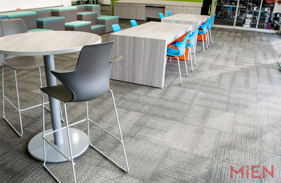 School common area with variety of tables in Fox Teakwood Formica Laminate