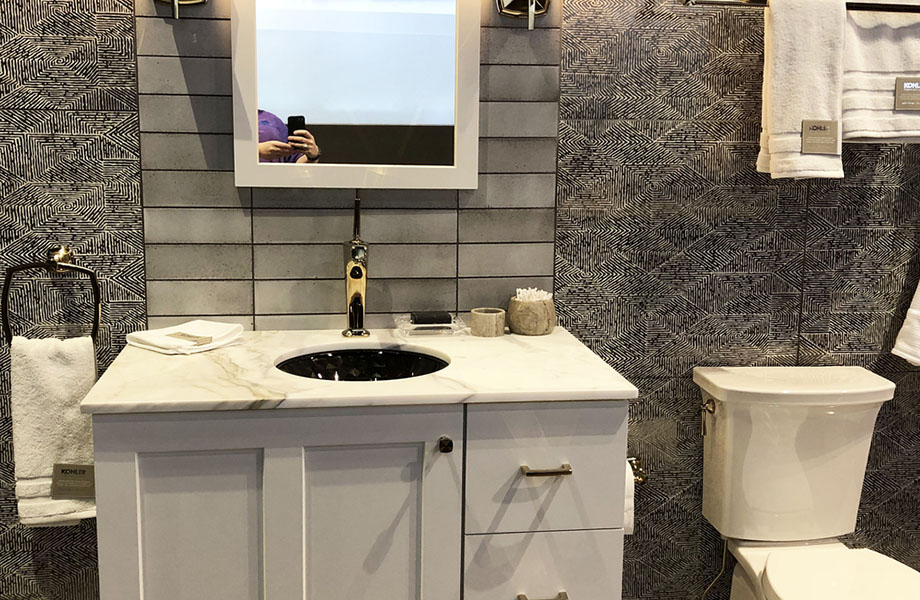 The combination of black and white remains a design staple, as seen at Kohler, KBIS 2019