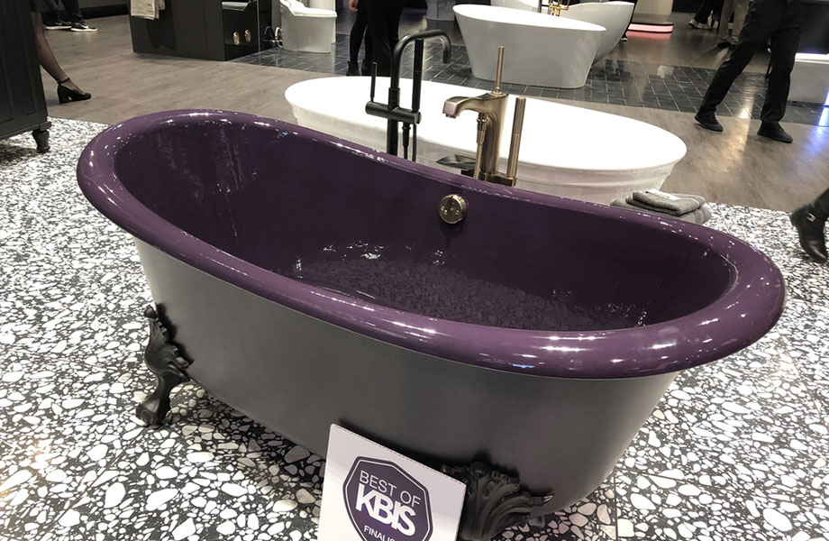 Jewel tones were prevalent at KBIS 2019, as seen with this striking bathtub at Kohler