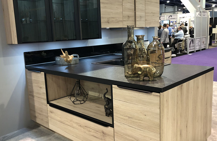 Clean lines and no hardware at Noblessa kitchen, KBIS 2019