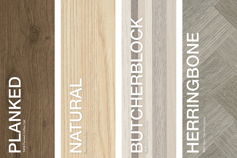 Formica® Brand Woodgrains Laminates styles: Planked, Rotary/Natural, Butcherblock, Herringbone