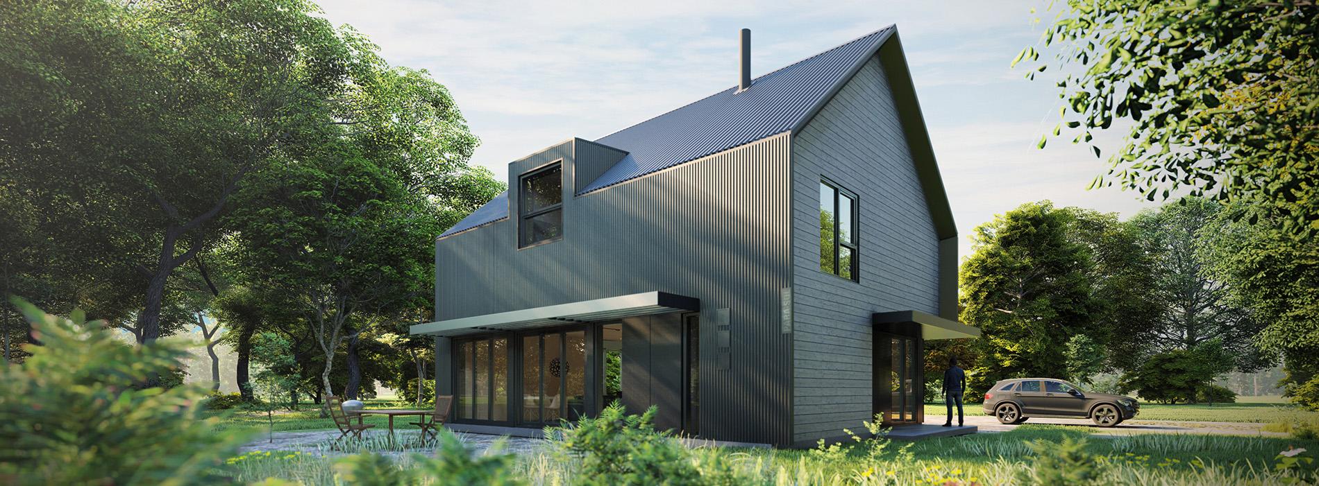 Formica Canada partners with Eco Home, Eco Home model kit, prefabricated architect designed ecologibal house, Eco Habitat S1600
