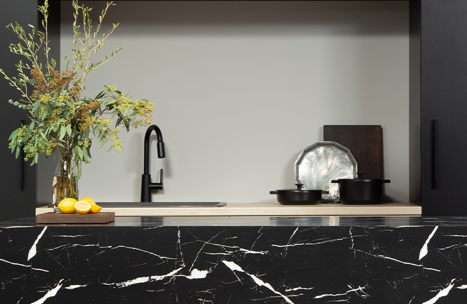 7403 Nero Marquina 180fx® by Formica Group, 7412 Planked Raw Oak Formica® Laminate and M4254 Brushed Black Aluminum