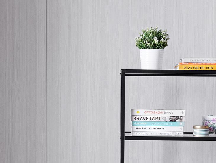 5784-NG Ashwood Bone gray wood wall with bookshelf and plant