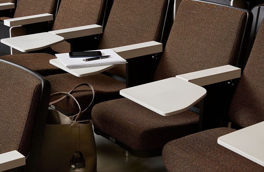417 Gamma Gray solid surface auditorium desks with seats