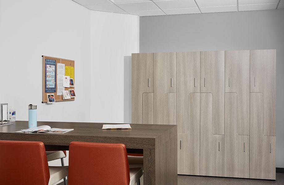 Break room with 5791-PG Grayed Oak lockers and 8589-PG Tula Oak table