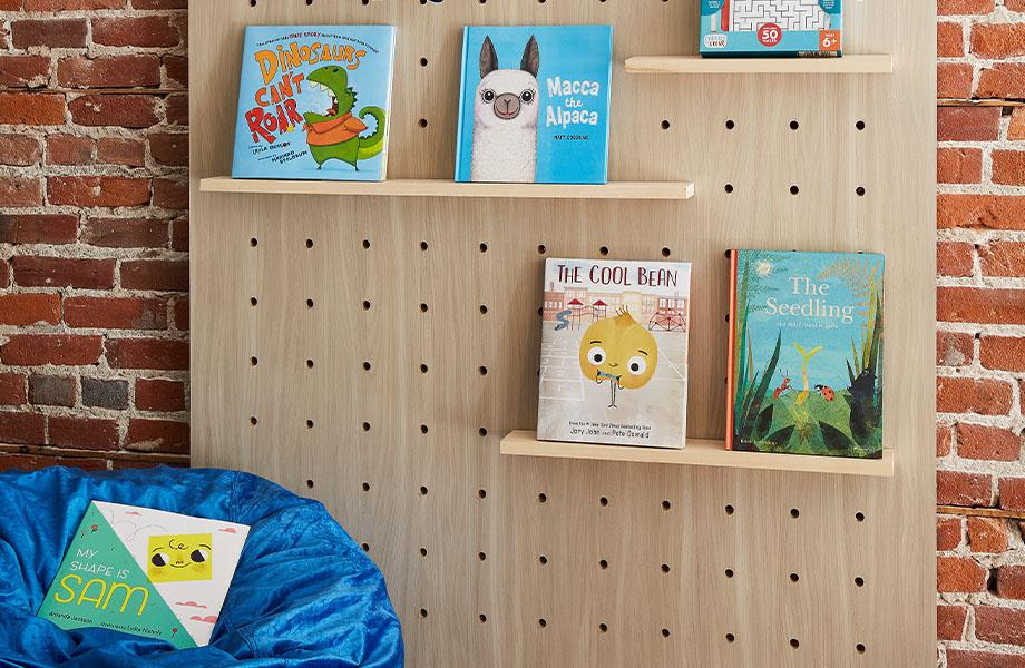 5793-NG Buff Elm children's faux wood wall bookshelf with bean bag
