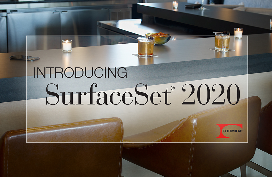 SurfaceSet® 2020, a collection of new woodgrains, solids and patterned Formica® Laminate designs to help interior designers and architects create beautiful and functional commercial spaces