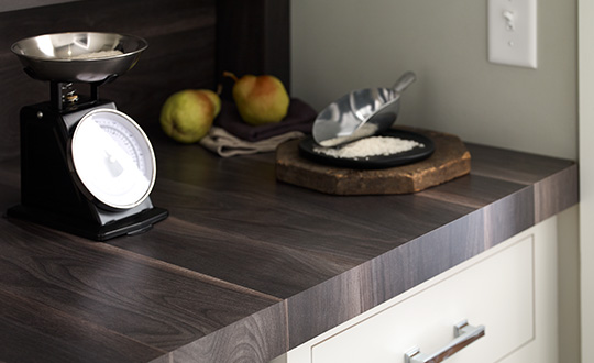 Food scale and pears on countetop 7411 Smoky Planked Walnut 180fx