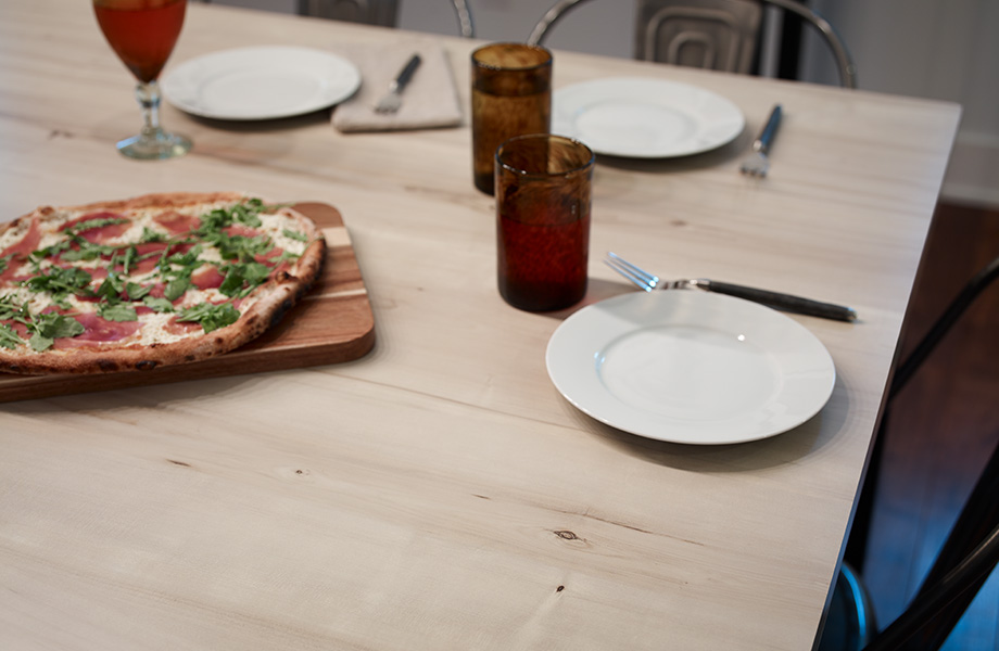 Table top with dishes and pizza 7410 White Knotty Maple 180fx