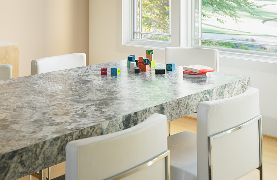 Kitchen table top with blocks 9304 Blue Flower Granite