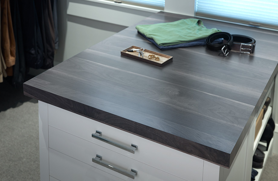 Countertop with shirts and jewlery 7411 Smoky Planked Walnut 180fx
