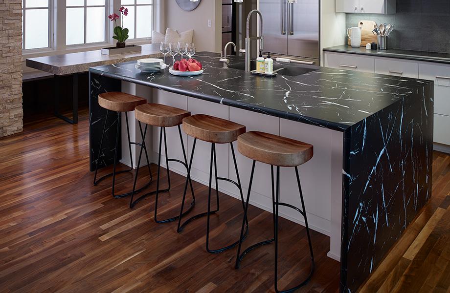 Breakfast bar kitchen island countertop 7403 Nero Marquina 180fx