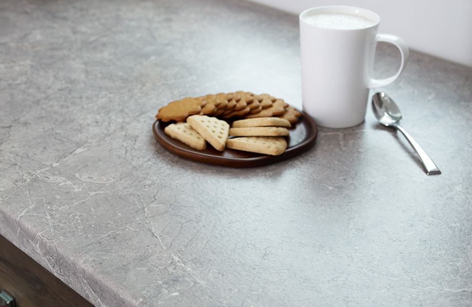 Counter with cookies and milk 7413 Planked Coffee Oak 7406 marmara Beige Formica Laminate