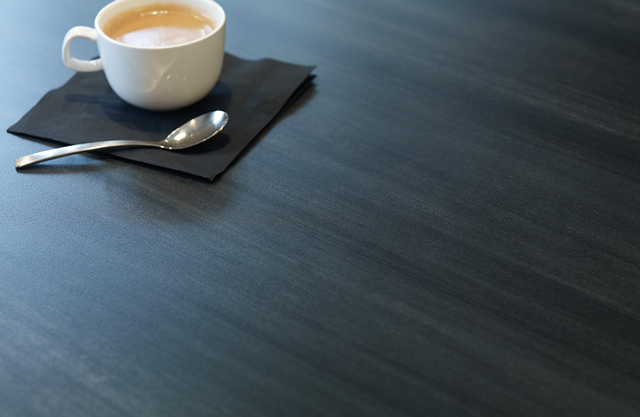 Table with coffee 8918 Blackened Steel Formica Laminate