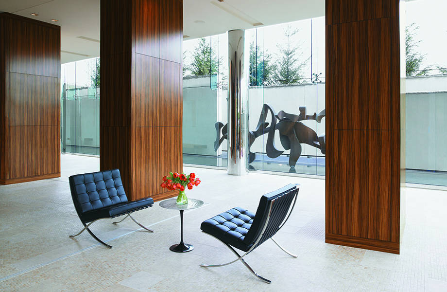 5481Oiled Olivewood decorative wood panels for walls in office lobby with chairs