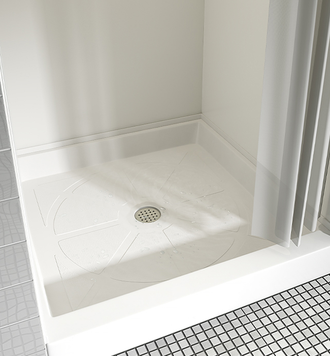 Shower pan 102 Arctic Formica Solid Surfacing