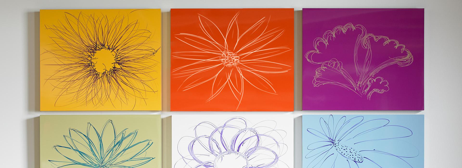 Flower artwork 851 Spectrum Blue 3209 Sol 6907 Amarena 8821 Just Blue Specialty Markerboard