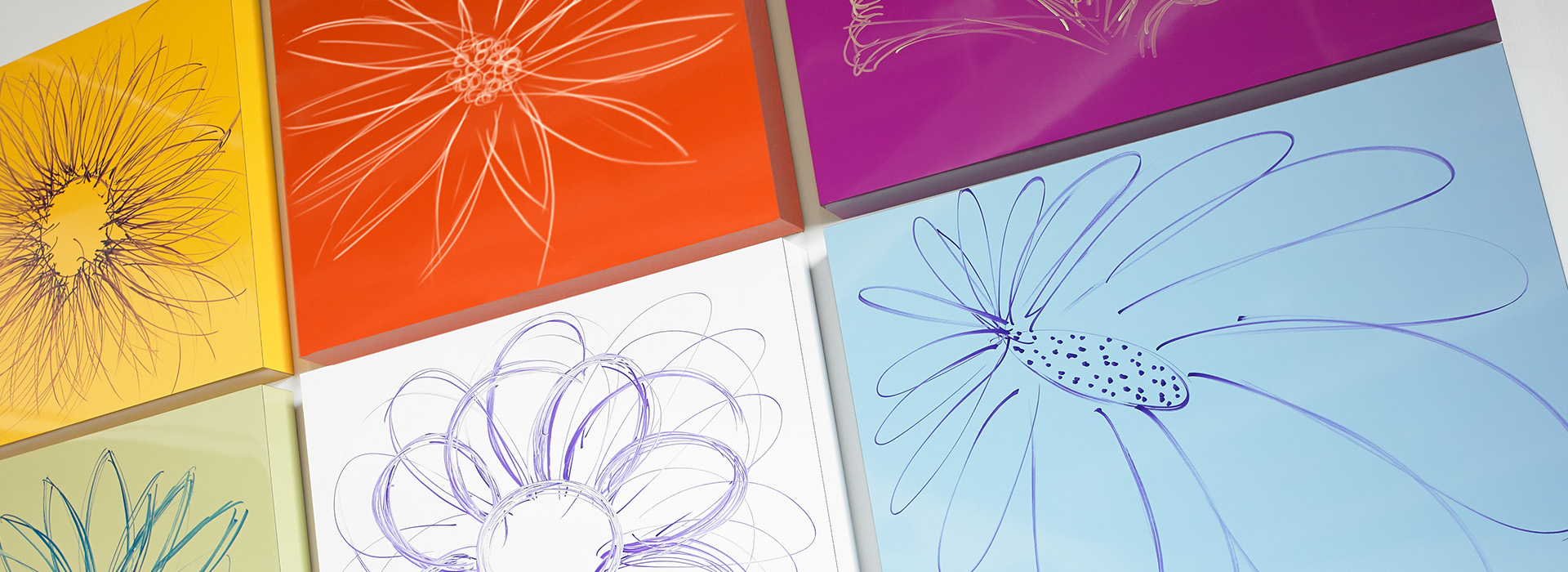 Flower artwork 851 Spectrum Blue 3209 Sol 6907 Amarena 8821 Just Blue Specialty Markerboard