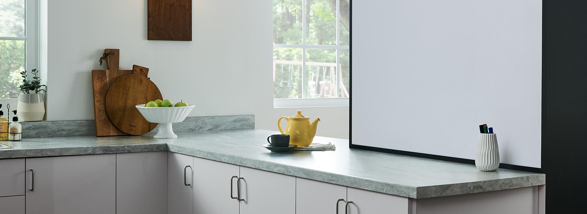Dry erase board in kitchen with yellow teapot 949 White Writable Surfaces