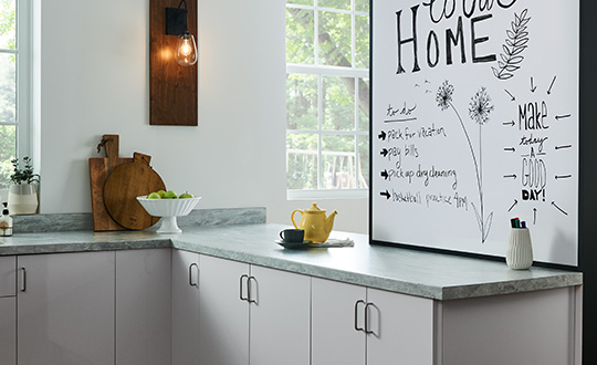 Dry erase board in kitchen with yellow teapot 949 White Writable Surfaces