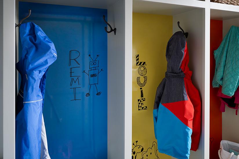 Childrens coat cubbies 8795 Matrix Blue 1485 Chrome Yellow 2962 Clementine