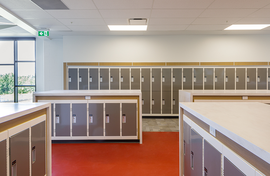 Dr. Anne Anderson High School Lockers with HardStop Panels