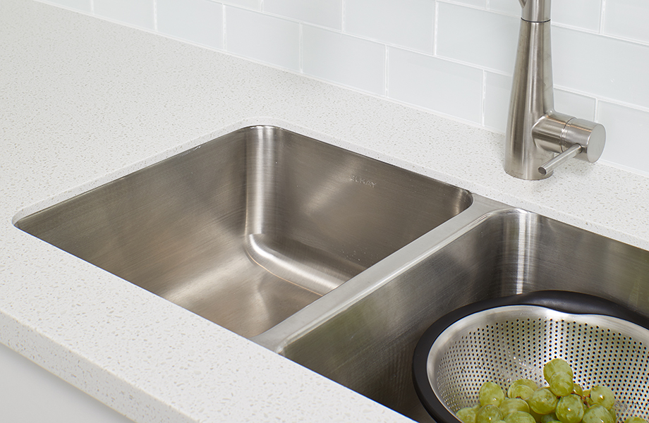 Meredith Test Kitchen sink with grapes