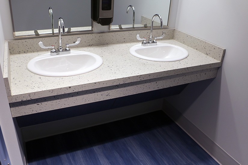 Robert Morris University Back bathroom counters with Formica® Brand High Pressure Laminate
