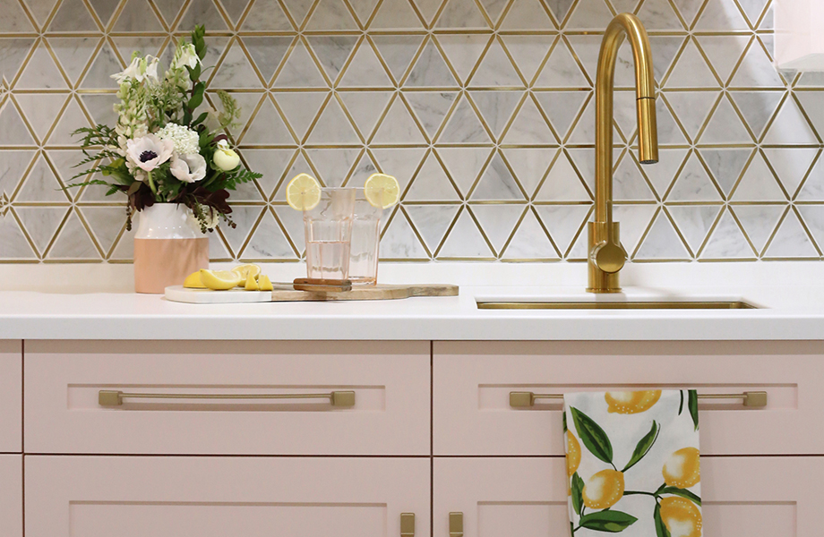 Virginia Fynes pink kitchen with formica solid surface bleached concrete counter