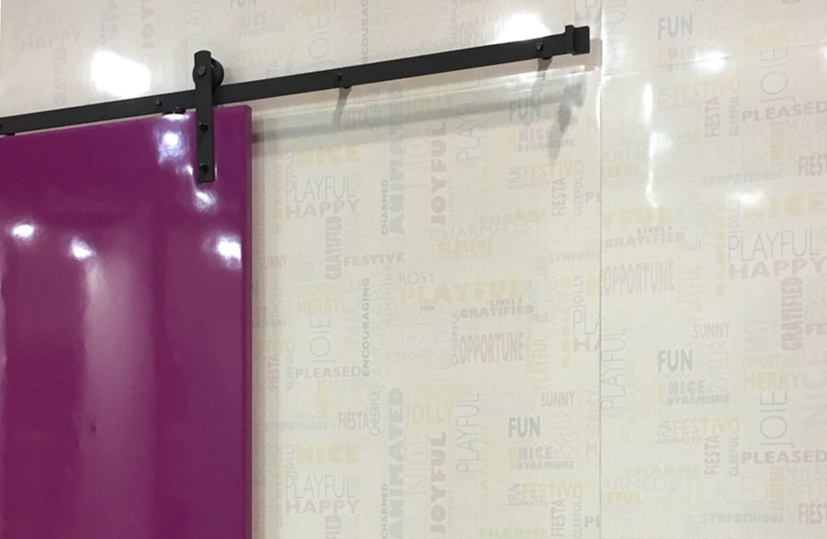 Cassis markerboard barn doors on markerboard HappyWords wall