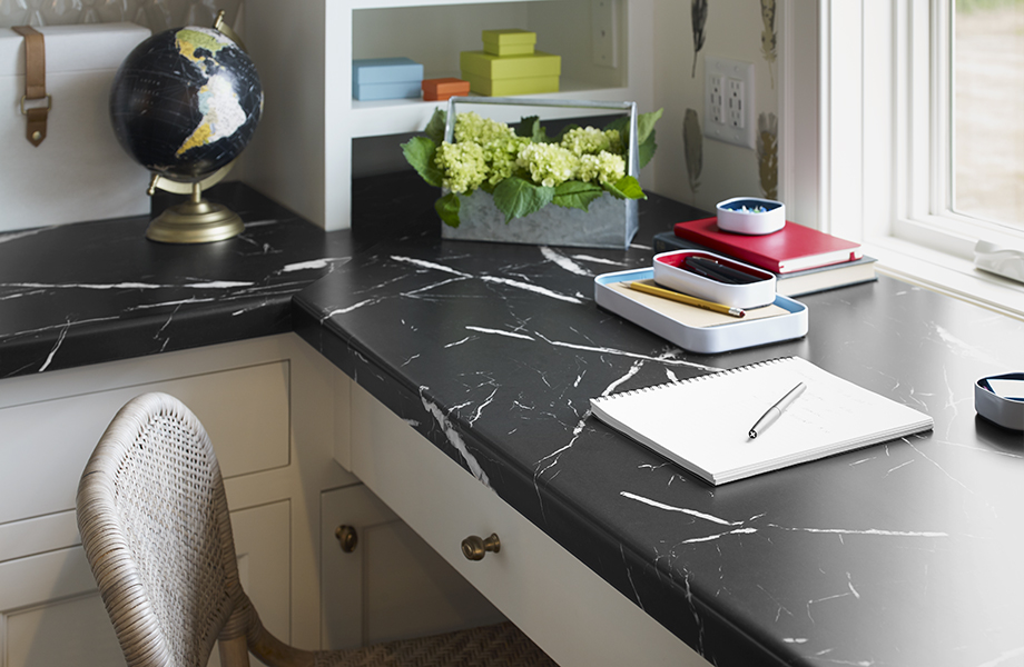 Corner desk with 7403-11 Nero Marquina countertops and white drawers