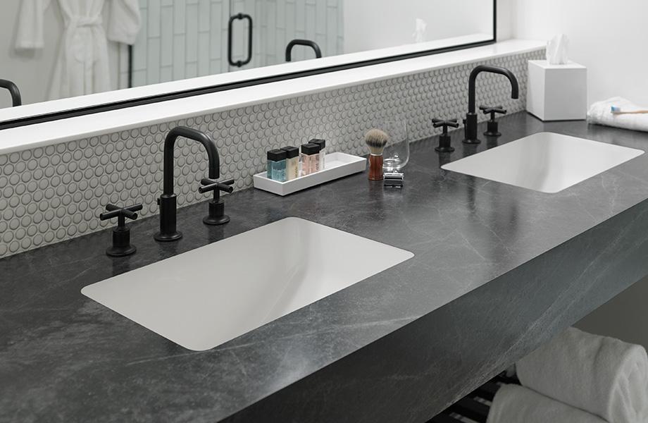 Gray laminate bathroom countertop in 3476 Jet Sequoia 180fx
