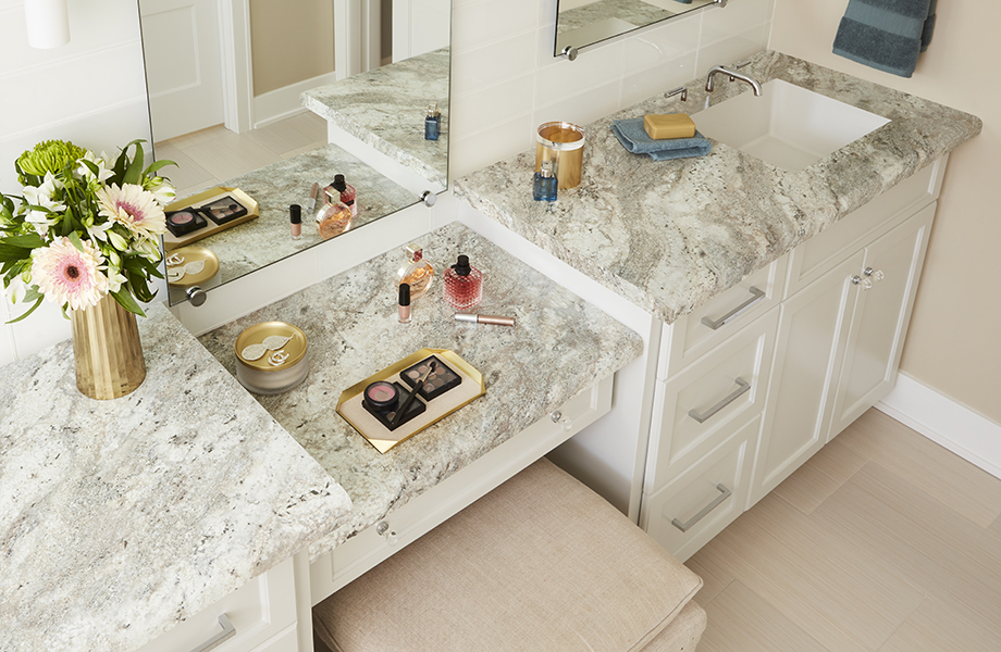 9284-43 Classic Crystal Granite laminate bathroom countertop with sink and white cabinetry