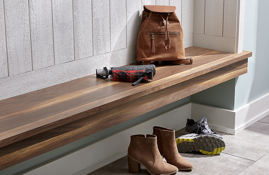 Mudroom with 9479 NG Wide Planked Walnut bench, shoes, and a bag