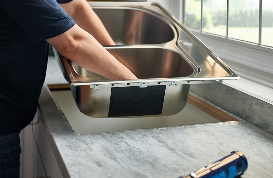 Stainless steel sink installation