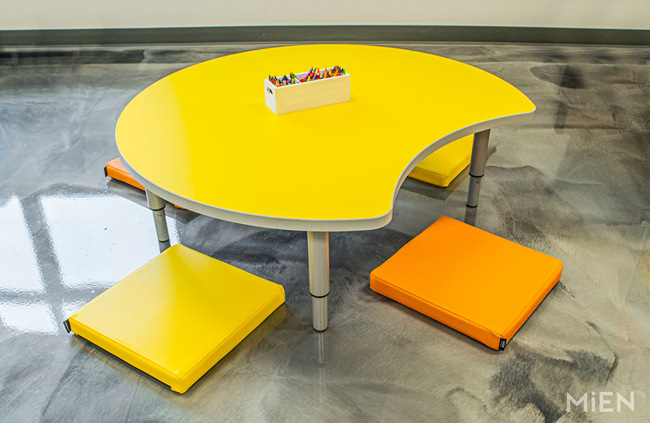 1485 Chrome Yellow Formica Laminate table for children with crayons and seating pads
