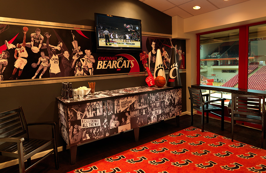 Cincinnati Bearcats basketball suite with Formica Envision custom laminate buffet of historical images