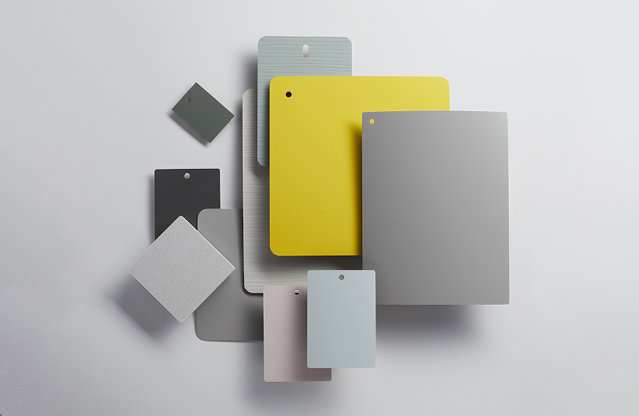 Collection of Formica laminate samples in pastels and gray tones