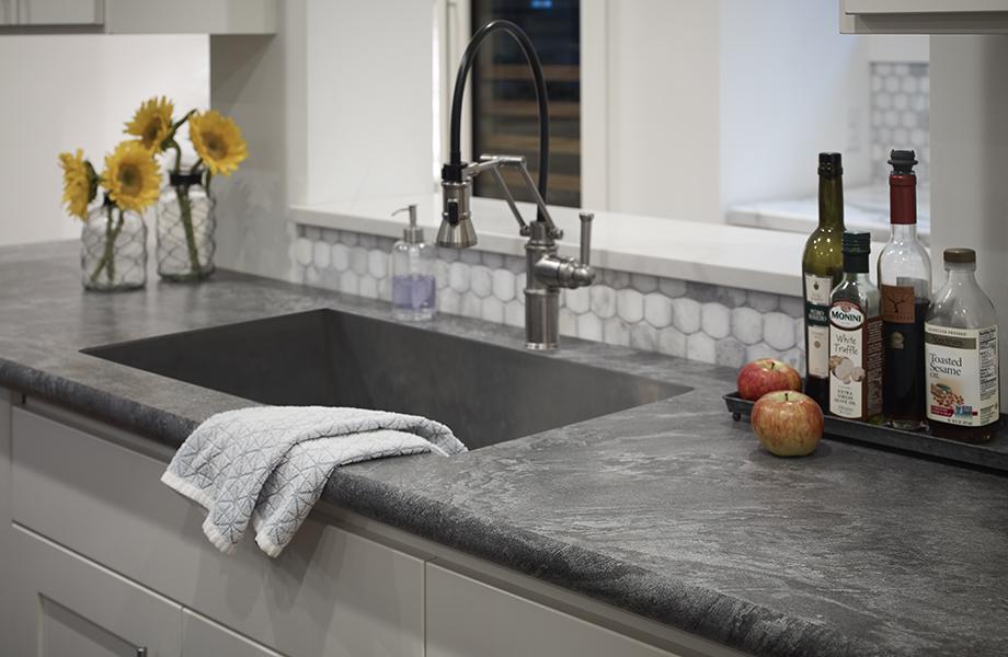 Silver Galaxy Slate countertop undermount sink