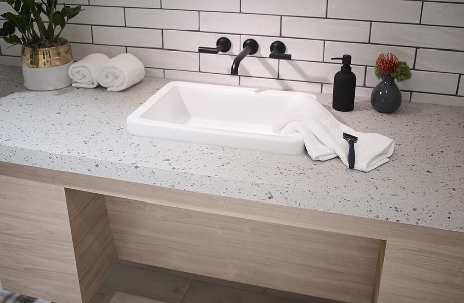 Tinted Paper Terrazzo Bathroom Vanity