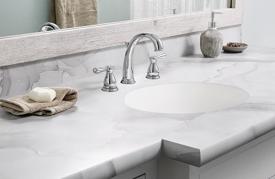 Watercolor Porcelain bathroom countertop