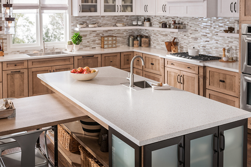 Kitchen countertop with apples 742 Blanco Terrazzo Formica Solid Surfacing
